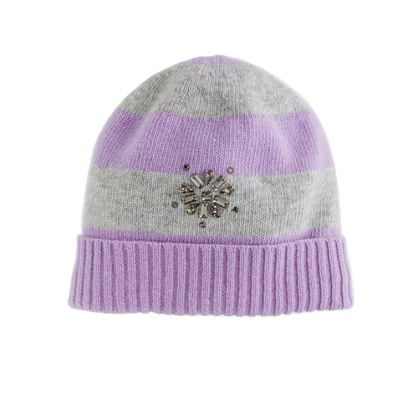 Girls' snowflake jewel striped hat
