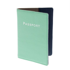 Leather colorblock passport case
