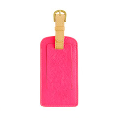 Leather colorblock luggage tag