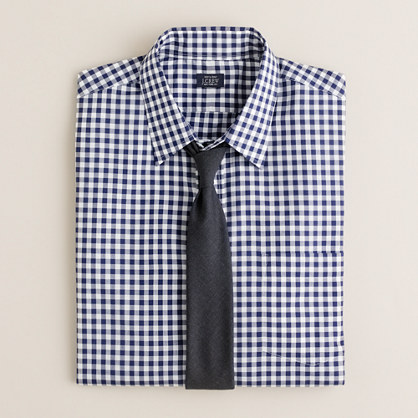 Slim point-collar dress shirt in medium gingham