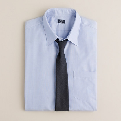 Slim point-collar end-on-end dress shirt