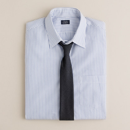 Slim point-collar dress shirt in poplar stripe