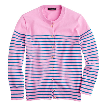 Jackie cardigan in stripe with anchor buttons