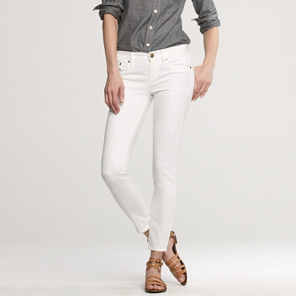Ankle stretch toothpick jean in white denim
