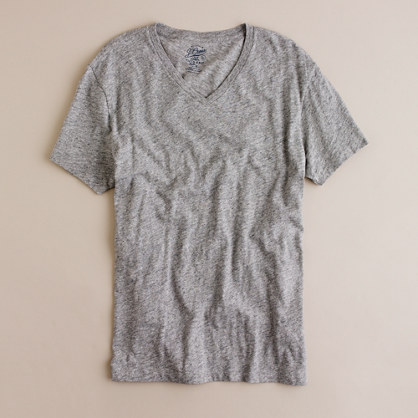 Slim field knit jaspé V-neck tee