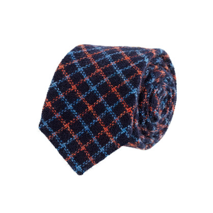 Tattersall wool tie in navy