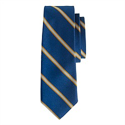Silk tie in lagoon blue and gold stripe