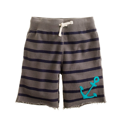 Boys' anchor stripe cutoff short
