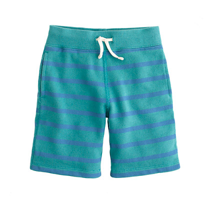Boys' stripe cotton fleece short