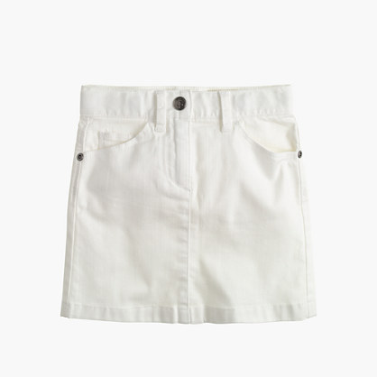 Girls' white denim mini