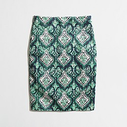 Factory printed pencil skirt in stretch cotton