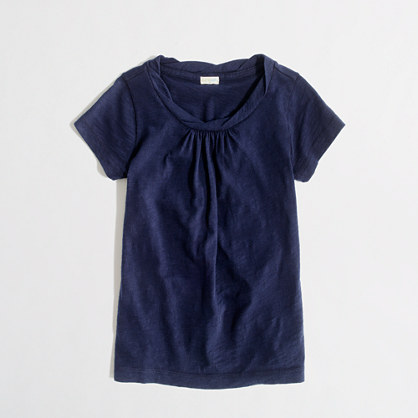 Factory girls' gathered cotton tee