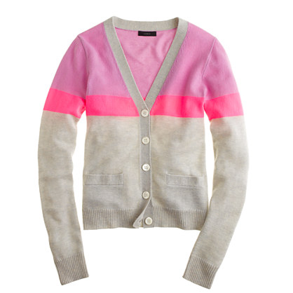 Collection cashmere V-neck cardigan in colorblock