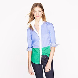 Stretch perfect shirt in colorblock