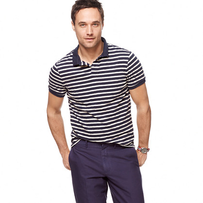 Lightweight slub chukker-stripe polo