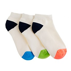 Boys' neon-toe ankle socks three-pack
