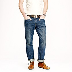 Slim-straight jean in indigo medium worn wash