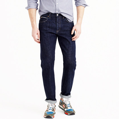 Slim-straight selvedge jean in resin crinkle wash