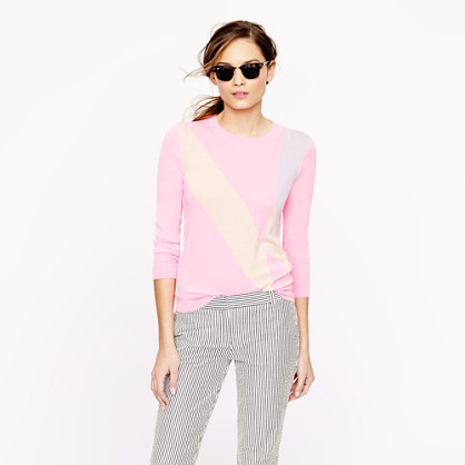 Collection featherweight cashmere sweater in sorbet stripe