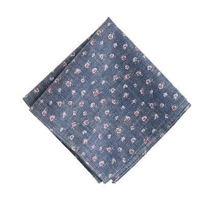 Chambray floral pocket square
