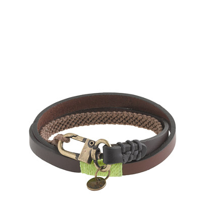 Caputo & Co. triple-wrap leather and waxed cord bracelet