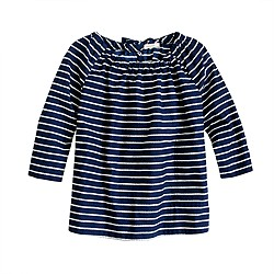Girls' gathered top in rope stripe