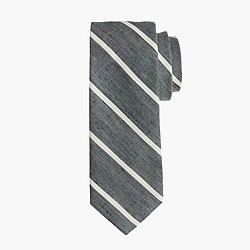 Extra-long English linen thin-stripe tie