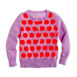Girls' Caroline cardigan in neon dot
