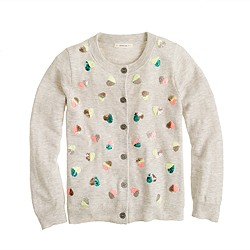 Girls' Caroline cardigan in sequin hearts