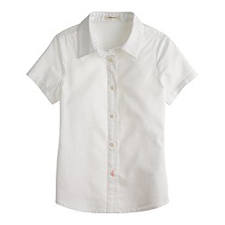 Girls' short-sleeve shirt in tissue oxford