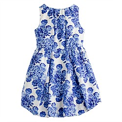 Girls' poplin bubble dress in tea rose print