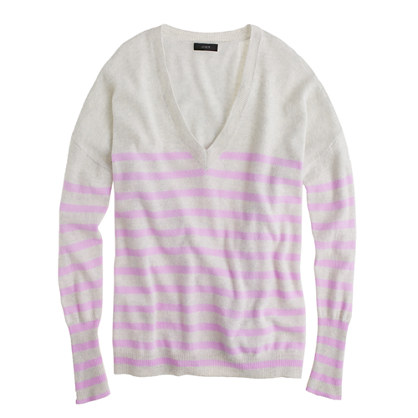 Collection cashmere boyfriend sweater in skinny stripe