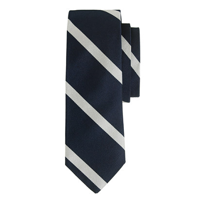 Extra-long silk tie in diagonal stripe