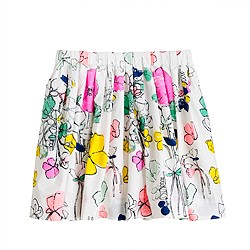 Girls' pull-on pleated skirt in floating floral