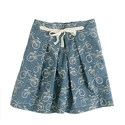 Girls' bicycle print chambray skirt