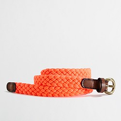 Factory braided tab belt