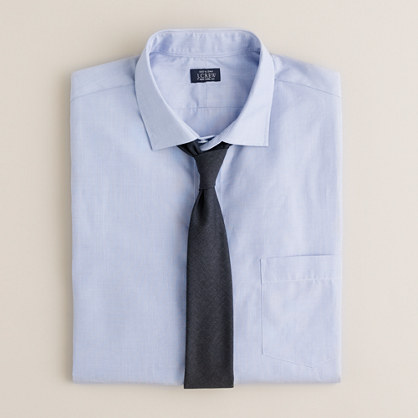 Spread-collar end-on-end dress shirt