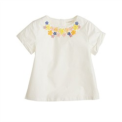 Girls' floral-necklace tee
