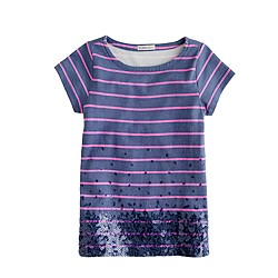 Girls' thin-stripe sequin tee