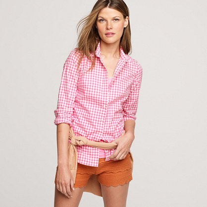 j crew women 39 s perfect boy shirt in neon gingham pink