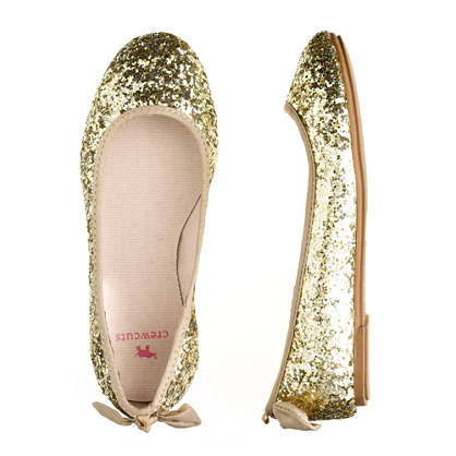 Girls' glitter bow ballet flats