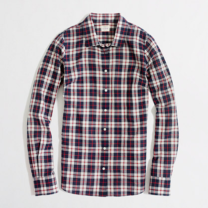 Factory classic button-down shirt in suckered plaid