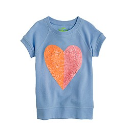 Girls' short-sleeve sequin heart sweatshirt