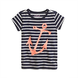 Girls' stripe sequin anchor tee