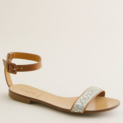 Crushed glitter sandals flat sandals Womens shoes J.Crew