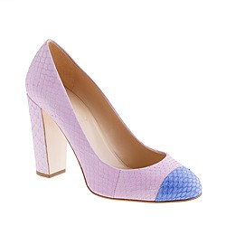 Collection Etta snakeskin cap toe pumps