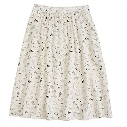 Collection silk crepe de chine skirt in shoe sketch