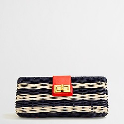 Factory stripe rattan clutch