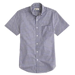 Thomas Mason® short-sleeve shirt in navy gingham