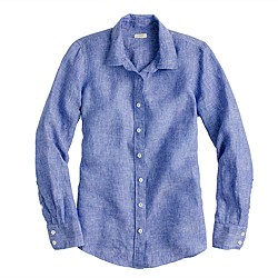 Perfect shirt in crosshatch linen